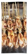 Bbq Asian Grilled Squid In Kep Market Cambodia Beach Towel
