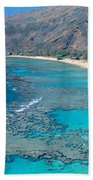 Beach And Haunama Bay, Oahu, Hawaii Beach Towel