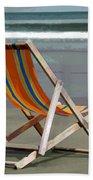 Beach Chair And Ocean Stripes Beach Towel