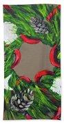 Beach Christmas Wreath Beach Towel