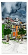 Beach Houses Watercolor Painting Beach Towel