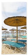 Beach Umbrellas And Chairs On Sandy Seashore Beach Towel