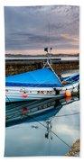 Beadnell Harbour Sunset Beach Towel