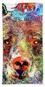 Bear Colored Grunge Beach Towel