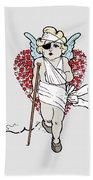Beaten Up Cupid Art - Funny Love Broken Heart Art Beach Towel