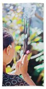 Beautiful Asian Woman Holding Incense Sticks During Hindu Ceremony In Bali, Indonesia Beach Towel