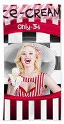 Beautiful Blonde Woman Serving Ice Cream Beach Towel
