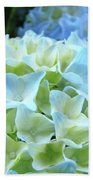 Beautiful Blue Hydrangea Floral Art Prints Creamy White Pastel Beach Towel
