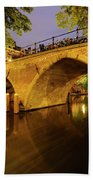 Beautiful Bridge Weesbrug Over The Old Canal In Utrecht At Dusk 220 Beach Towel