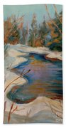 Beautiful Brook In Winter Beach Towel
