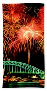 Beautiful Colorful Holiday Fireworks 2 Beach Towel