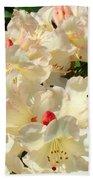 Beautiful Creamy White Pink Rhodies Floral Garden Baslee Troutman Beach Towel