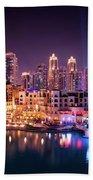 Beautiful Famous Downtown Area In Dubai At Night, Dubai, United Arab Emirates Beach Sheet