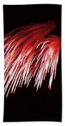 Beautiful Fire Works With Splash Of Red Color.  Beach Sheet