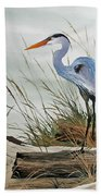Beautiful Heron Shore Beach Towel