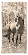 Beautiful Horse In Sepia Beach Towel