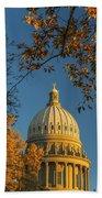 Beautiful Idaho State Capitol In Autumn Morning Beach Towel