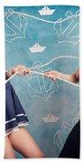 Beautiful Navy Pinup Girls On Marine Background Beach Towel