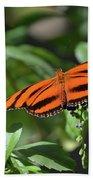 Beautiful Orange Oak Tiger Butterfly In Nature Beach Towel