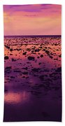 Beautiful Purple Sunset During Tide Shows Up Rocky Beach Beach Towel