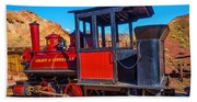 Beautiful Red Calico Train Beach Towel