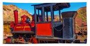 Beautiful Red Calico Train Beach Sheet