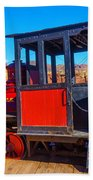 Beautiful Red Calico Train Beach Towel