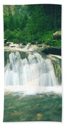 Beautiful River Flowing In Mountain Forest Beach Towel