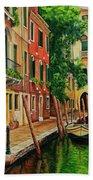 Beautiful Side Canal In Venice Beach Towel