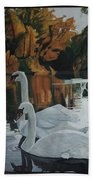 Beautiful Swans Moving In The River Path Beach Towel