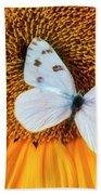 Beautiful White Butterfly On Sunflower Beach Towel