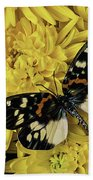 Beautiful Wings On Yellow Mums Beach Towel