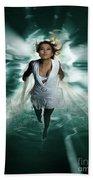 Beautiful Woman Diving In The Water Beach Towel