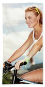 Beautiful Woman On The Bicycle Beach Towel