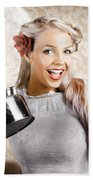 Beautiful Young Retro Woman With Cup Of Coffee Beach Towel