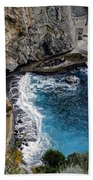 Beautifully Carved Out Swimming Deck On The Edge Of The Sea On The Amalfi Coast In Italy  Beach Towel