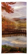Beauty Of The Lake In Autumn Deep Tones Beach Towel
