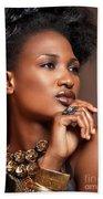 Beauty Portrait Of Black Woman Wearing Jewelry Beach Towel