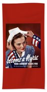 Become A Nurse -- Ww2 Poster Beach Towel