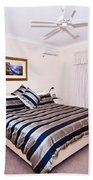 Bedroom With Silver And Blue Linen Beach Towel