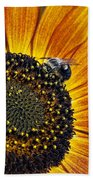 Bee And Sunflower. Beach Towel