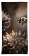 Bee Approaching Red Clover Blossom Beach Towel
