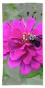 Bee Feeding From Pink Zinnia Beach Towel