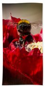 Bee Front With Red Flower Beach Towel