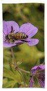 Bee On A Purple Flower Beach Towel