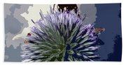 Bee On An Allium Beach Towel