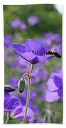 Bee On Perenial Geranium Rozanne Beach Towel
