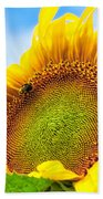 Bee On Sunflower Beach Towel