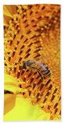 Bee On Sunflower Summer Nature Scene Beach Towel
