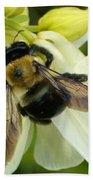Bee On White Beach Towel